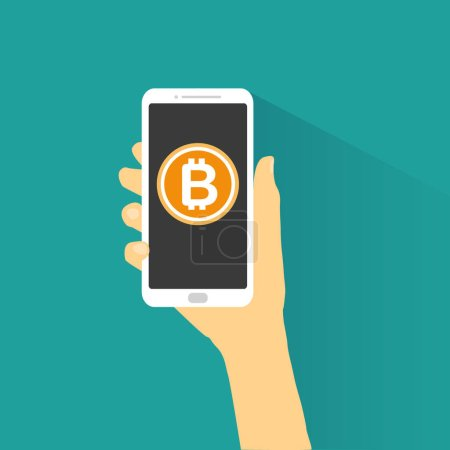 Hand holding smartphone with bitcoin vector....