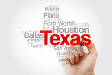 Foto de Lista de ciudades en Texas Usa palabra nube mapa con marcador, fondo del concepto - Imagen libre de derechos