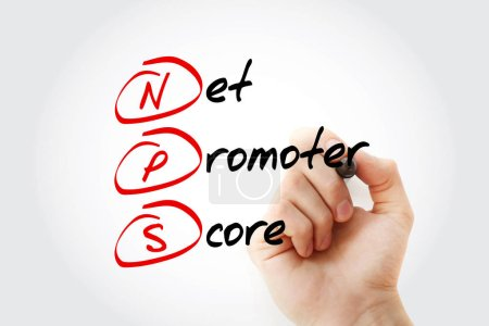 NPS - Net Promoter Score Akronym mit Marker, Hintergrund zum Geschäftskonzept