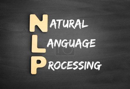 Photo for Wooden alphabets building the word NLP - Natural Language Processing acronym on blackboard - Royalty Free Image