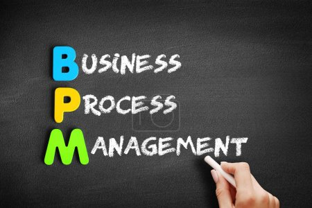 Photo for Color Wooden alphabets building the word BPM - Business Process Management acronym on blackboard - Royalty Free Image