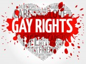 Gay rights word cloud collage heart concept background