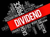 Dividend word cloud collage business concept background
