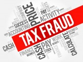 Tax fraud word cloud collage business concept background