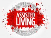 Assisted Living word cloud collage concept background