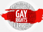 Gay rights circle word cloud collage concept