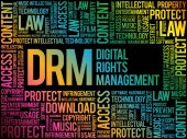 DRM - Digital Rights Management word cloud business concept background