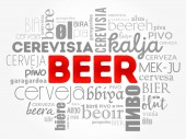 BEER in different languages of the world (english french german etc) Word Cloud collage multilingual background