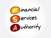 FSA - Financial Services Authority acronym business concept background