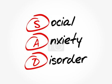 Illustration for SAD - Social Anxiety Disorder, acronym concept - Royalty Free Image