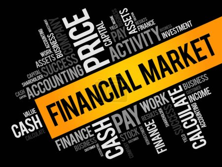 Financial market word cloud collage, business concept background
