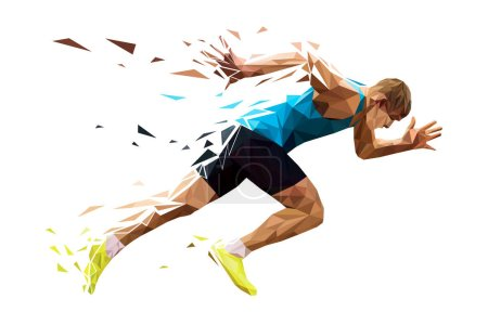 Photo for Runner sprinter explosive start in running. polygonal particles - Royalty Free Image