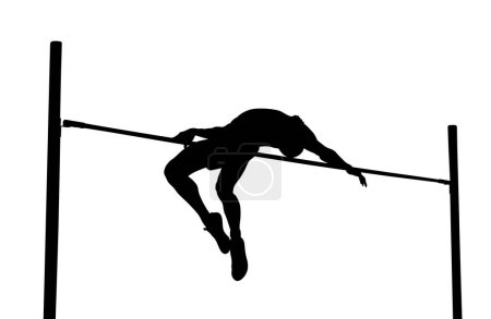 Photo pour Saut en hauteur est l'athlétisme. homme athlète noir silhouette - image libre de droit