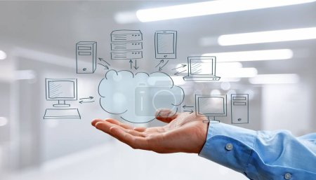 Businessman and  cloud computing, technology connectivity concept