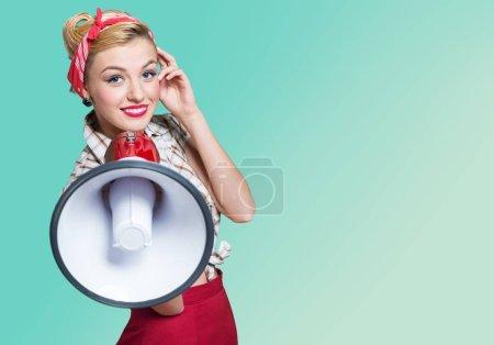 retro style Woman holding megaphone