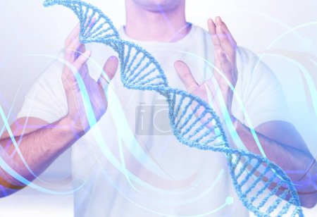 Photo for Man and  Science Molecular DNA Model Structure on light background - Royalty Free Image