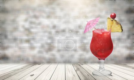 Photo for Glass of red cocktail isolated on background - Royalty Free Image