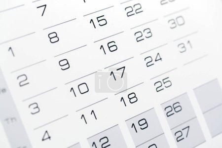 Organizer calendar template, close-up view