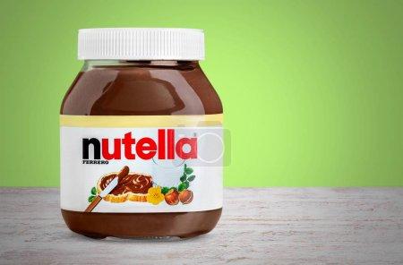 Nutella hazelnut spread jar on light background