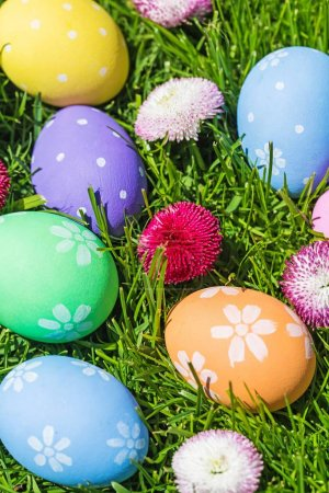 Close-up view of colorful Easter eggs