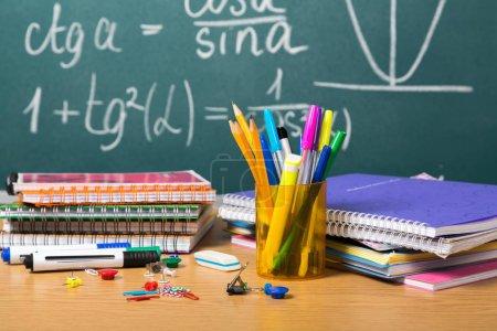 Photo for School desk education learning board chalkboard assortment - Royalty Free Image