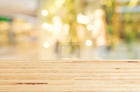 Photo for Wood table top on abstract bokeh white background - Royalty Free Image