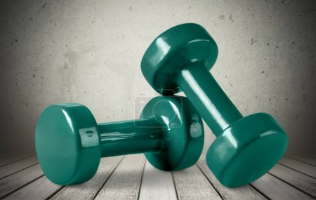 Photo for Modern dumbbells   isolated on wbackground. Sports equipment closeup - Royalty Free Image