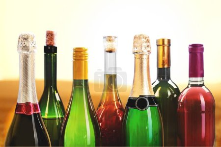 Photo for Wine drinks bottles isolated on background - Royalty Free Image