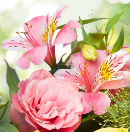 Photo for Beautiful Lilies Flowers Bouquet  on background - Royalty Free Image