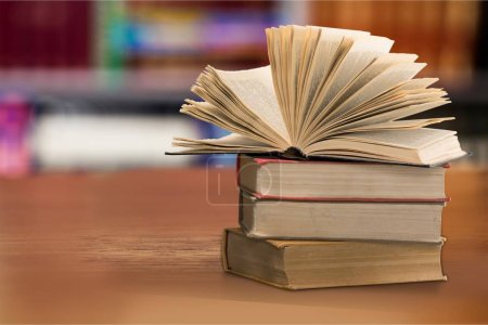 Stack of books, education and learning background...
