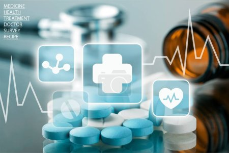 Photo pour Vue rapprochée des pilules médicales - image libre de droit
