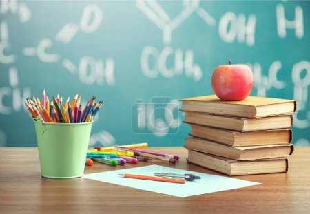 Photo for Colorful school stationery composition, back to school background - Royalty Free Image