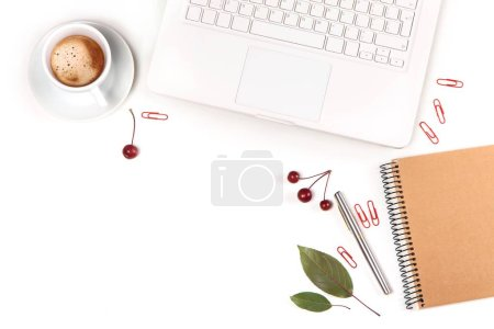 Photo for Workplace top view, laptop, notebook,  cup of coffee on white table - Royalty Free Image