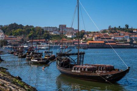 Porto wine boats in river Douro in Porto Portugal