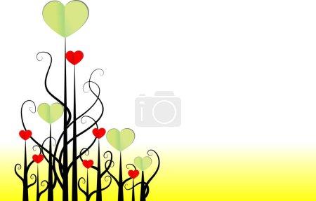 Foto de Ramas de árbol con corazones de papel, concepto de amor, vector, ilustración - Imagen libre de derechos