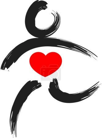 Foto de Pinceladas mano dibujada del cuerpo humano con corazón, concepto de amor - Imagen libre de derechos