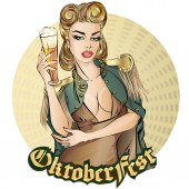Oktoberfest pin-up woman with beer Oktoberfest logo banner hand drawn vector illustration background art