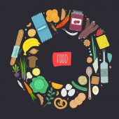 Paleo food circle concept Healthy diet illustraion made in handdrawn rough style
