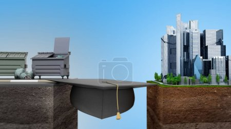 Education career opportunities concept The graduate's hat as a bridge from poverty to success 3d render on blue