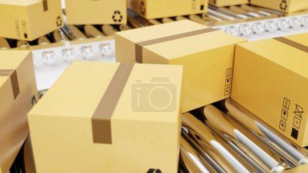 rendu 3D Livraison de colis, service d'emballage et de colis concept de système de transport, boîtes en carton sur bande transporteuse