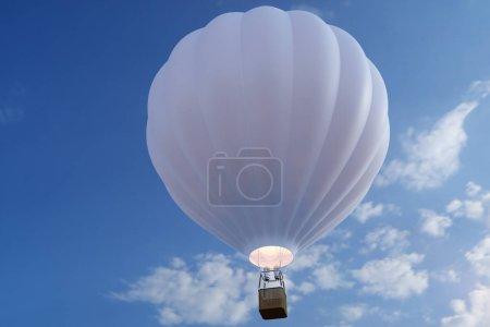 Photo pour Illustration 3D montgolfière sur fond de ciel. Ballon d'air blanc, rouge, bleu, vert et jaune sur le ciel - image libre de droit