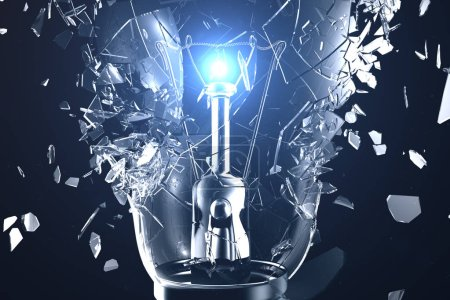 Photo for 3D illustration Exploding light bulb on a blue background, with concept creative thinking and innovative solutions - Royalty Free Image