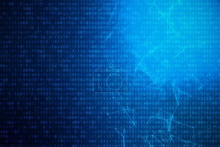 3D illustration binary code on blue background. Bytes of binary code. Concept technology. Digital binary background. Connection lined and dots, global network.