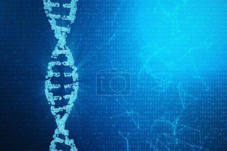 Photo pour Molécule d'ADN numérique, structure. Concept code binaire génome humain. Molécule d'ADN avec gènes modifiés, illustration 3D - image libre de droit