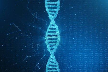 Photo pour Intelligence artificielle molécule d'ADN. L'ADN est converti en code binaire. Concept génome à code binaire. Technologie abstraite science, concept artificiel ADN, illustration 3D - image libre de droit