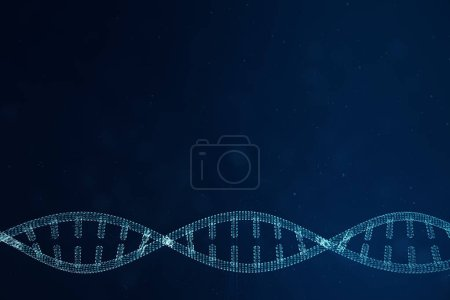 Photo pour Intelligence artificielle molécule d'ADN. Concept génome à code binaire. Technologie abstraite science, concept artificiel ADN, illustration 3D - image libre de droit