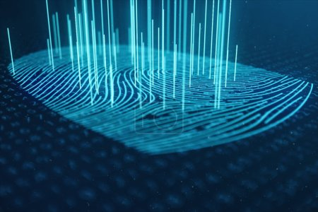 3D illustration Fingerprint scan provides security access with biometrics identification. Concept Fingerprint protection. Finger print with binary code. Concept of digital security