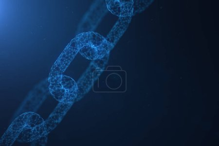 Photo for Block chain concept, digital block chain technology. Cryptocurrency, concept of digital code. Low polygonal grid of triangles glowing in blue dot network. Abstract background. 3D illustration - Royalty Free Image