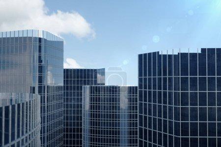 Photo pour Illustration 3D bleu gratte-ciel d'un faible angle de vue. Bâtiments de verre haute architecture. Gratte-ciels bleus dans un quartier de la finance. - image libre de droit