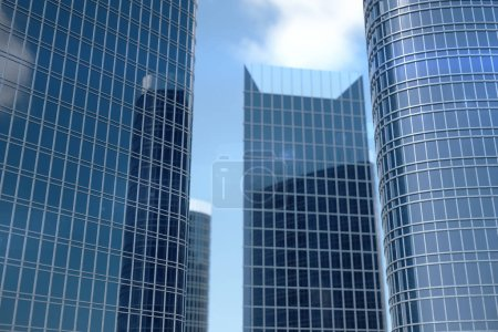 Photo for 3D Illustration blue skyscrapers from a low angle view. Architecture glass high buildings. Blue skyscrapers in a finance district. - Royalty Free Image